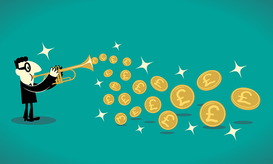 Businessman playing trumpet and getting a lot of gold British currency (Pound sign coin) out of his brass instrument