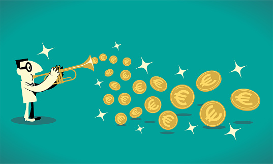 Businessman playing trumpet and getting a lot of gold European Union currency (Euro sign coin) out of his brass instrument