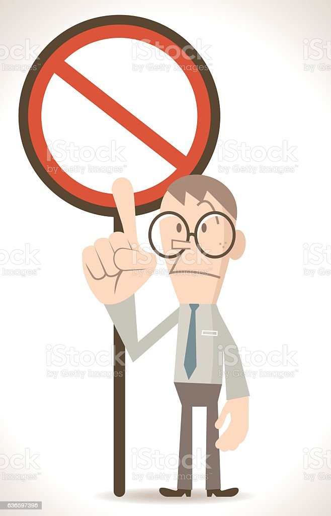 Businessman pointing at an empty prohibition sign vector art illustration