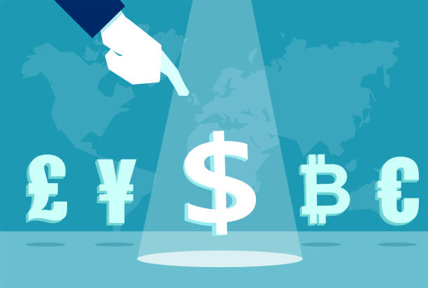 businessman pointing at dollar sign Hand of businessman pointing at dollar among euro, bitcoin dollar yen and pound sterling sign deregulation stock illustrations