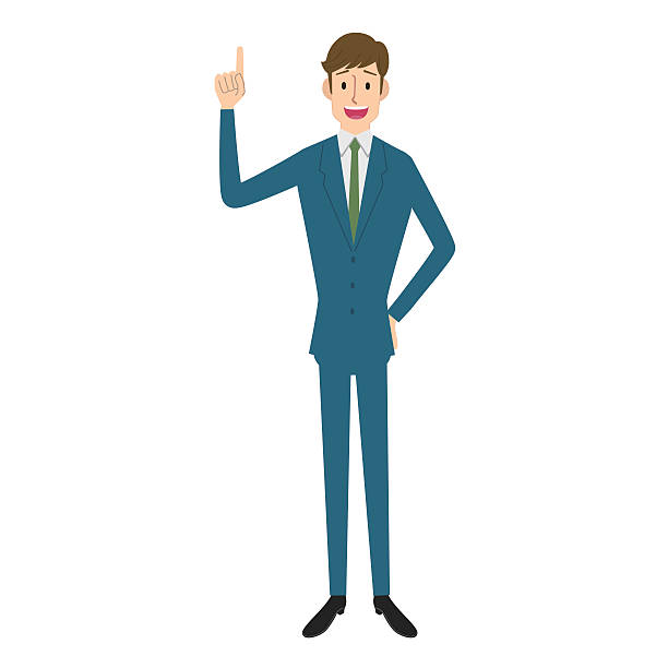 stockillustraties, clipart, cartoons en iconen met businessman pointing - overhemd en stropdas