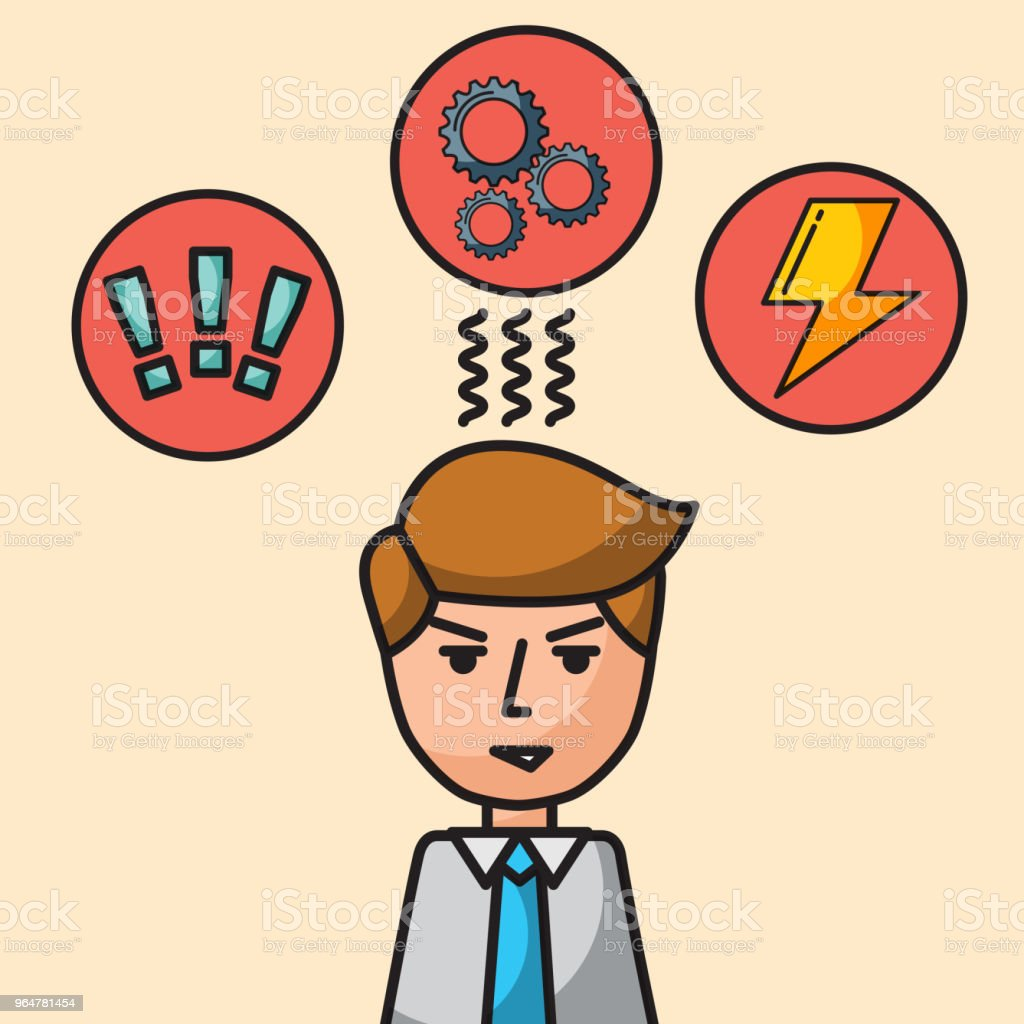 businessman portrait character angry brainstorm work royalty-free businessman portrait character angry brainstorm work stock vector art & more images of adult