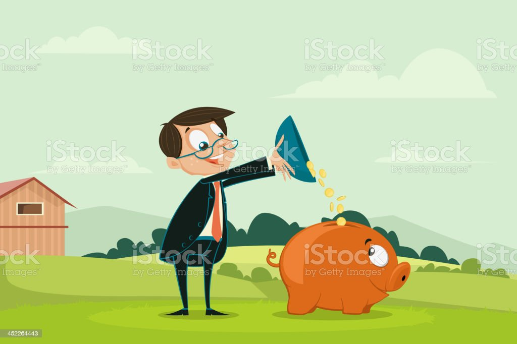 Businessman pouring coin into Piggybank royalty-free stock vector art