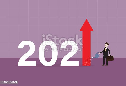 istock Businessman pouring water into 2021 to make a high bar graph 1294144709