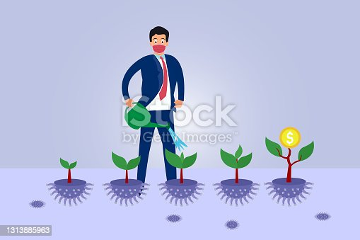 istock Businessman pouring water to money tree on pot 1313885963