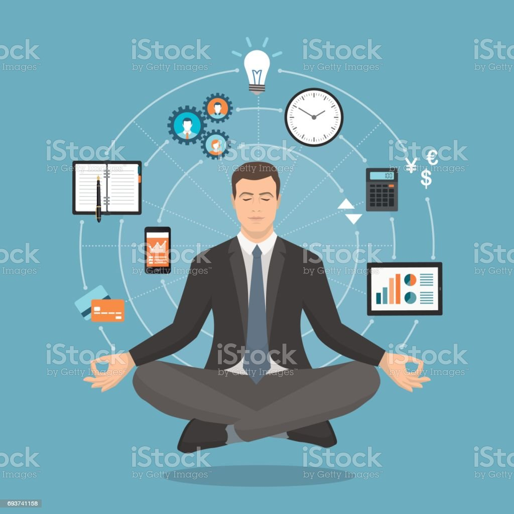 Businessman practicing meditation vector art illustration