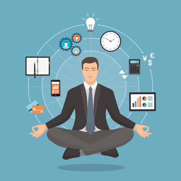 geschäftsmann üben meditation - berufstätige männer stock-grafiken, -clipart, -cartoons und -symbole