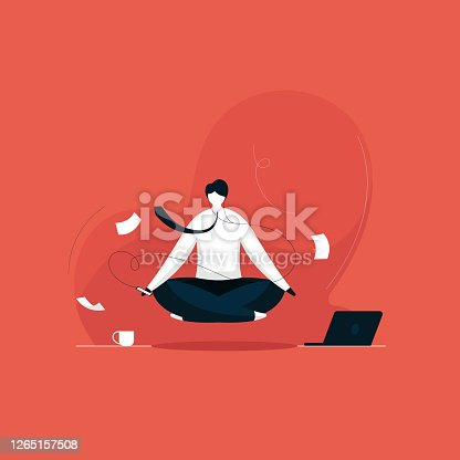 Businessman practicing mindfulness meditation with music
