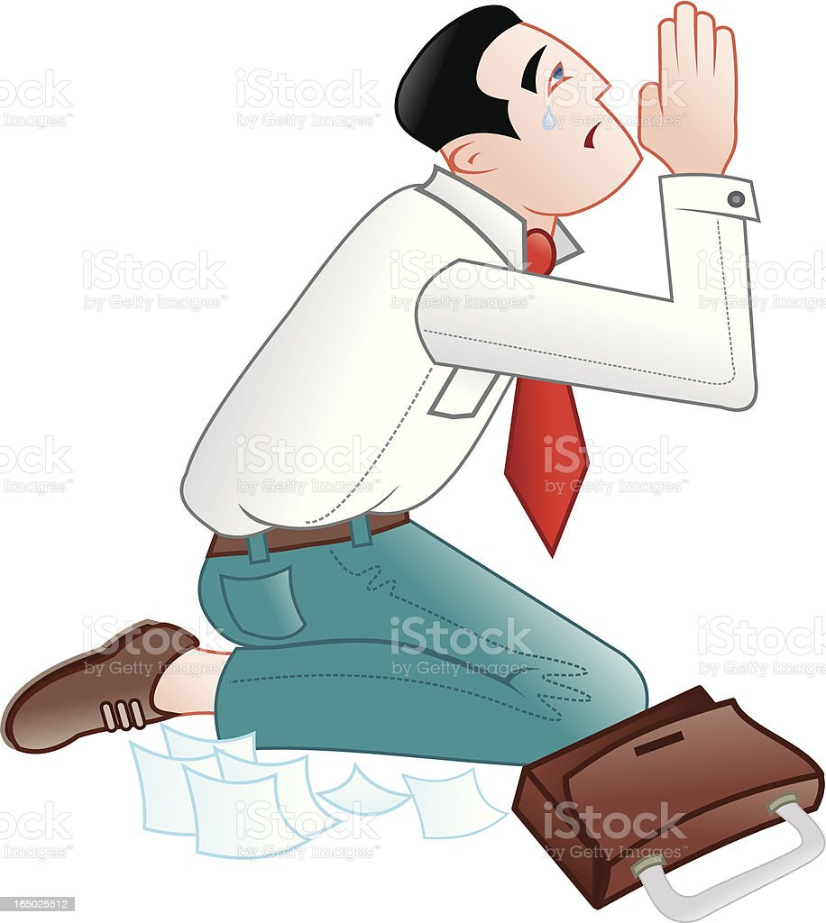 Businessman praying for a contract or sale vector art illustration