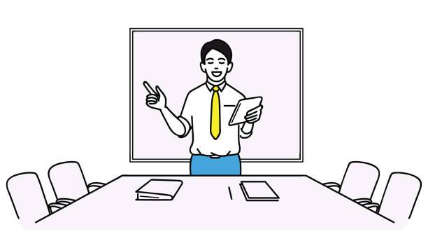 Homme d'affaires se préparer pour la réunion - Illustration vectorielle