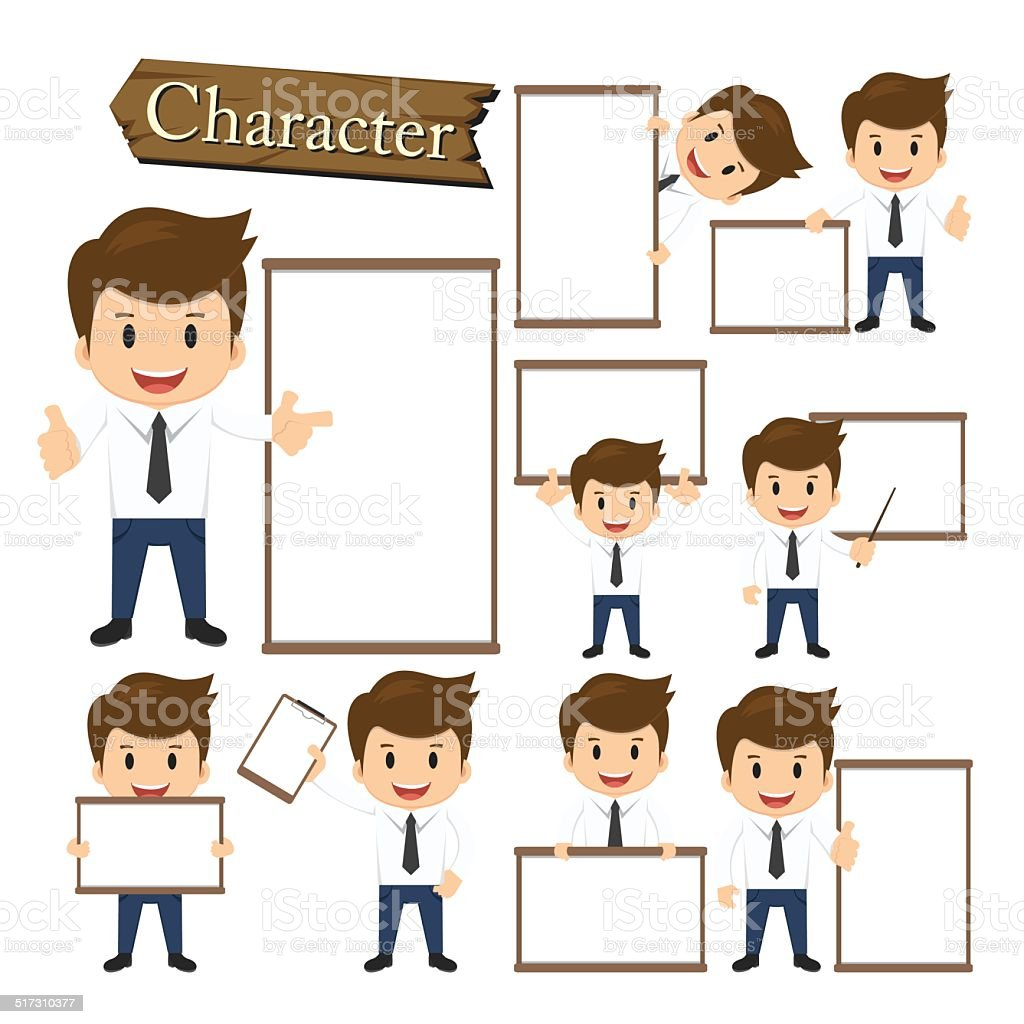 Businessman present whiteboard character set vector vector art illustration