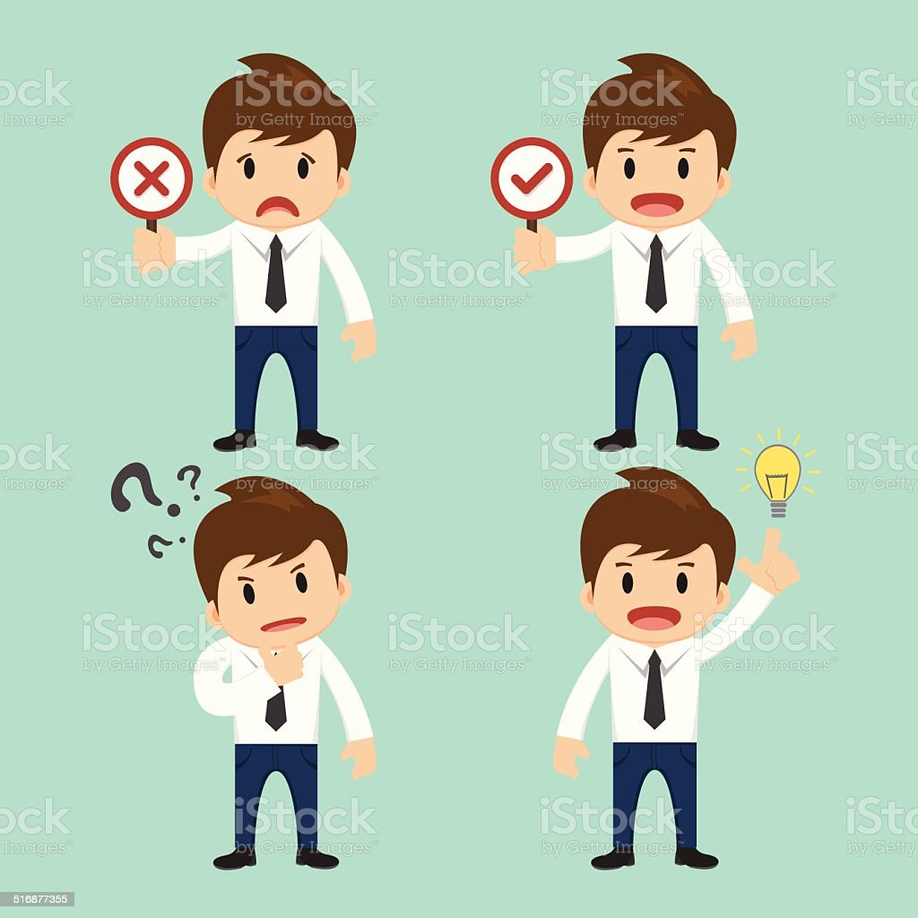 Businessman present wrong,right and present thinking,idea vector illustration vector art illustration