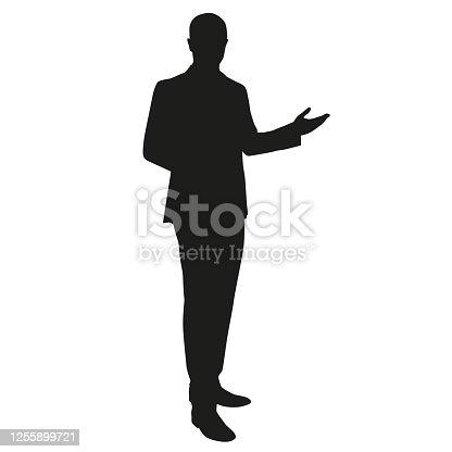 istock Businessman presentation. Vector silhouette 1255899721