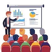 Businessman presenting marketing data