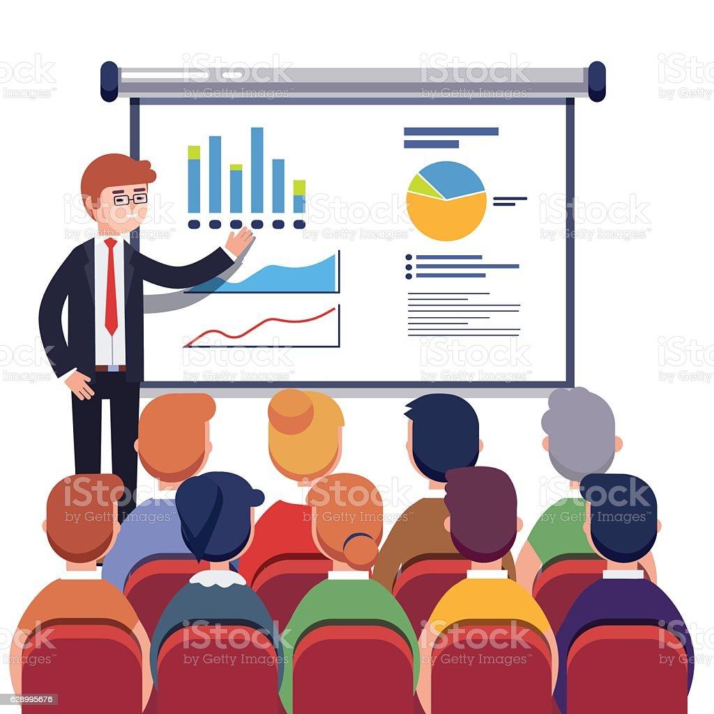 Businessman presenting marketing data vector art illustration