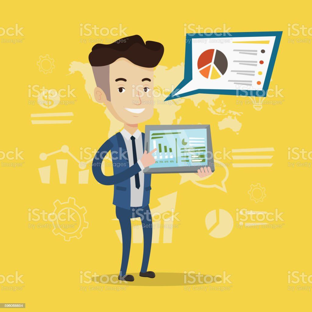 Businessman presenting report on tablet computer. royalty-free businessman presenting report on tablet computer stock vector art & more images of business