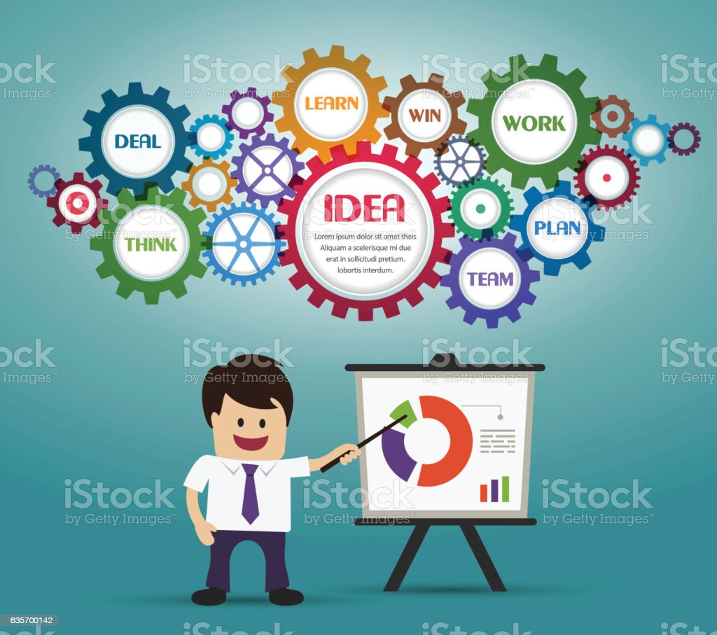 Businessman presenting the graph on board royalty-free businessman presenting the graph on board stock vector art & more images of adult