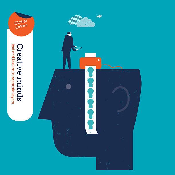 Businessman printing bulbs on top of a head vector art illustration
