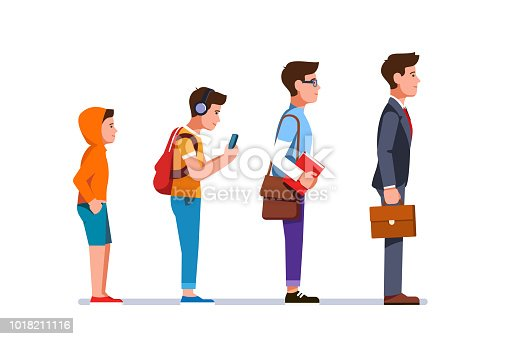 Business manager person evolution progression from kid to teen, student, to grownup business man. Professional development stages of young man trough life. Flat character isolated vector illustration on white background.