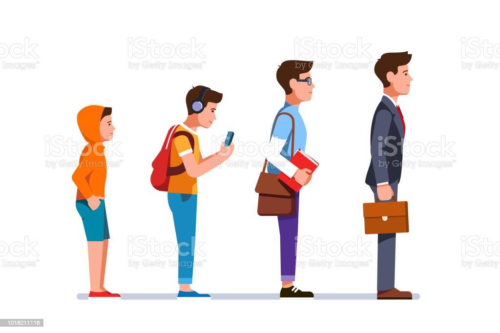 Businessman professional cereer evolution progress. Flat vector clipart illustration. vector art illustration