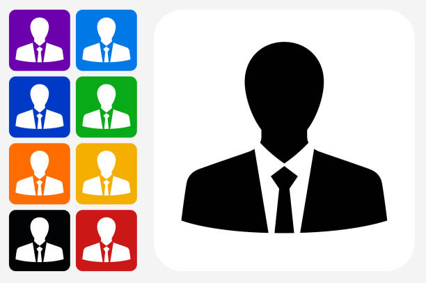 businessman profile icon square button set - head and shoulders stock illustrations, clip art, cartoons, & icons