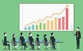 Businessman profit gain presentation.