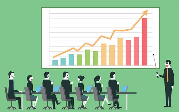 Businessman profit gain presentation Businessman profit gain presentation. exchange rate stock illustrations