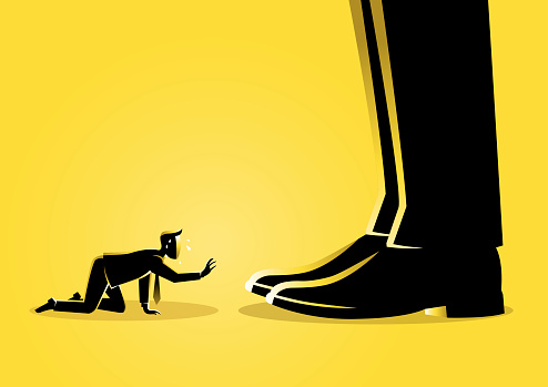 An illustration of a businessman prostrated under boss feet