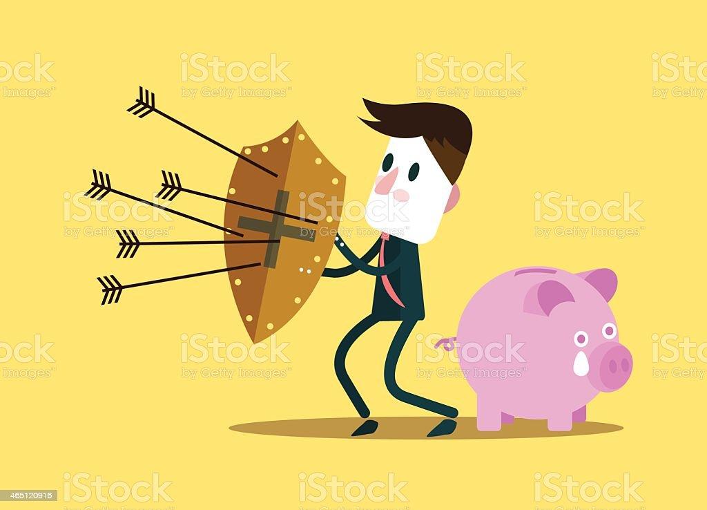 Businessman protect piggy bank. vector art illustration