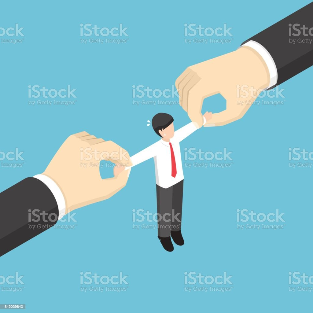 Businessman pulled by two big hand. vector art illustration