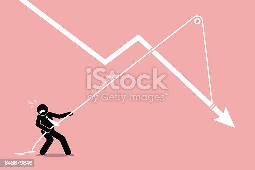 Vector artwork depicts economy crisis, downturn, financial pressure, and burden.