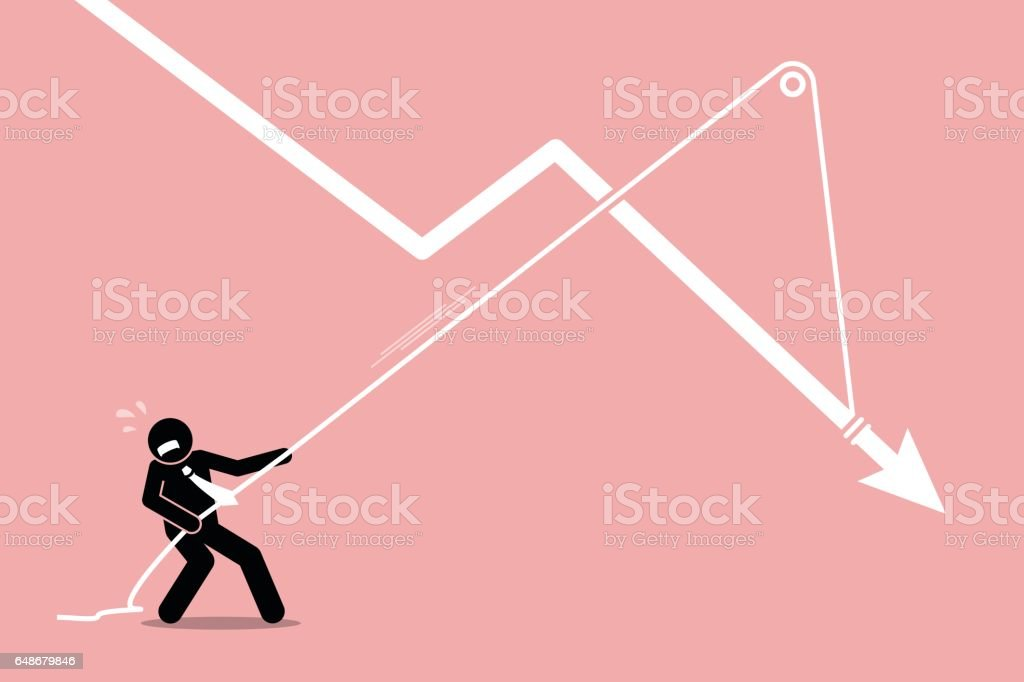 Businessman pulling a falling arrow graph chart from further dropping down. vector art illustration
