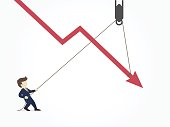 Businessman pulling a falling arrow graph chart from further dropping down. Vector illustration for business design and infographic.