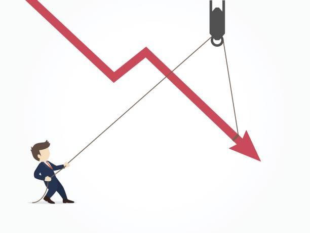illustrations, cliparts, dessins animés et icônes de homme d'affaires en tirant une flèche descendante graphique graphique de tomber plus. illustration vectorielle pour business design et infographie. - inflation