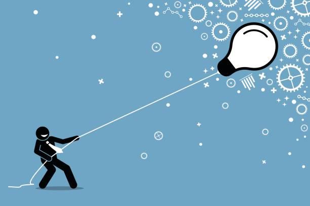 geschäftsmann eine fliegende schwebende glühbirne an einer schnur ziehen. - strickideen stock-grafiken, -clipart, -cartoons und -symbole