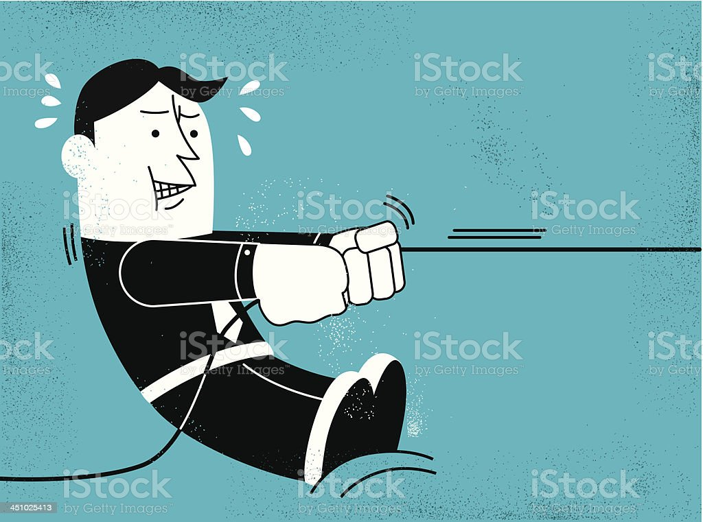 Businessman Pulling vector art illustration