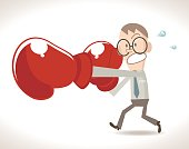 Businessman (boxer, man) punching (hitting, breaking) with glasses and boxing glove (fist), jabs & straight punches