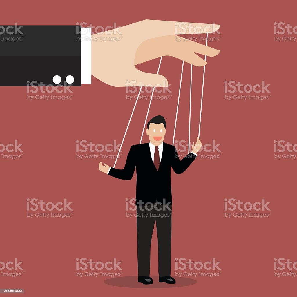 Businessman puppet on ropes vector art illustration