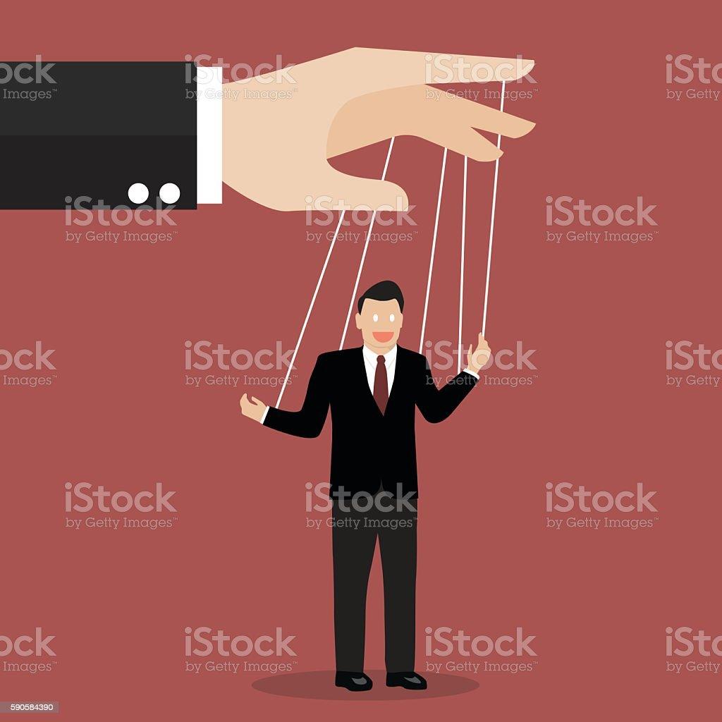 Businessman puppet on ropes vector art illustration