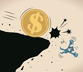 Businessman (man) pushed off a cliff by a big us dollar sign currency coin (falling off a cliff)