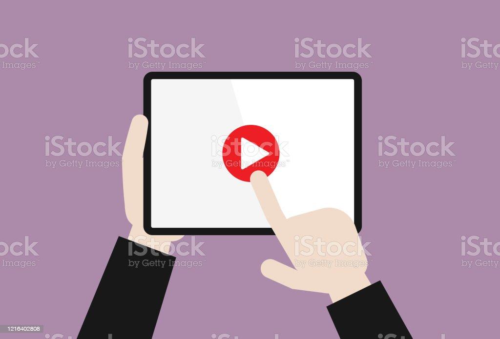 L'homme d'affaires appuie sur un bouton vidéo de lecture - clipart vectoriel de Abonnement libre de droits