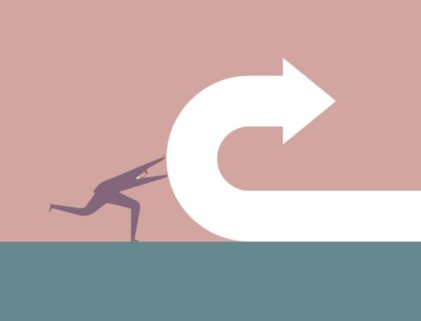 businessman pushes back arrow symbol. - przekręcać stock illustrations