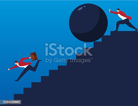 Businessman pushes down huge stone to stop companion on stairs
