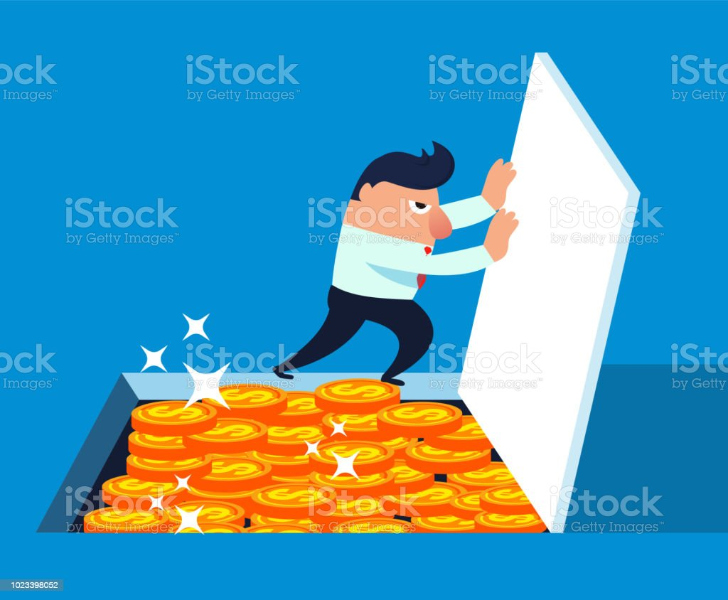 Businessman pushes open the basement door and finds a pile of gold coins vector art illustration