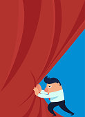 Businessman pushes open the curtain