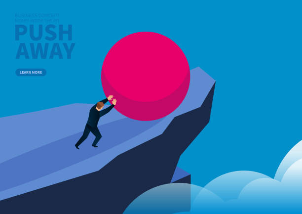 i̇ş adamı uçurumdan aşağı kırmızı topu iter - mountain top stock illustrations