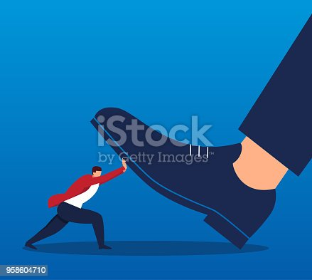 Businessman pushes the giant's foot away