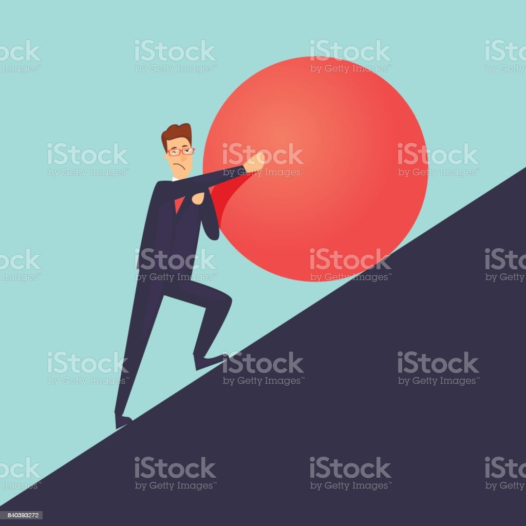 Businessman pushes up a mountain stone. Flat design vector illustration. vector art illustration