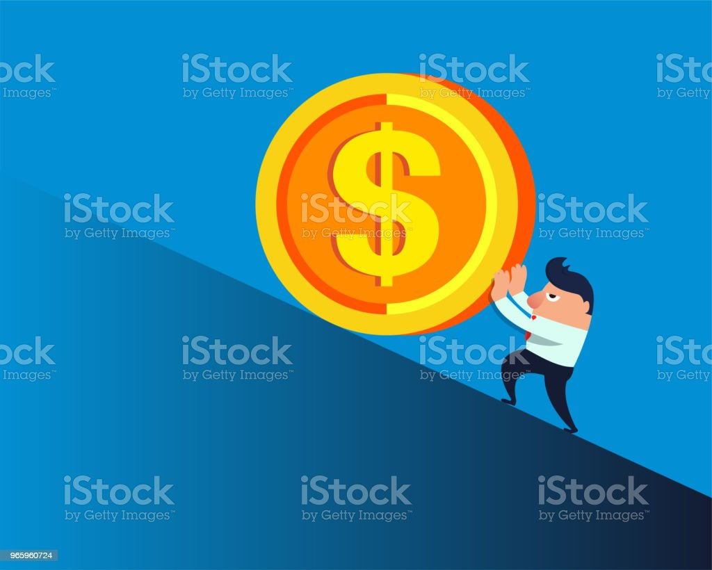Businessman pushing a huge gold coin on a slope - Royalty-free Achievement stock vector