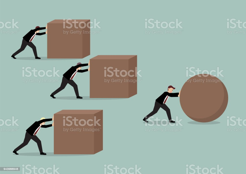 Businessman pushing a sphere leading the race against a group of businessmen pushing cubes vector art illustration